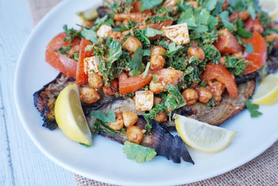 Aubergine and Chickpea Platter