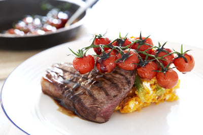 Balsamic Glazed Steak with Sweet Potatoes and Cherry Tomatoes