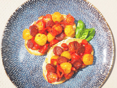 Caramelised Tomatoes, Sweet Pepper and Chorizo on Sourdough Bread