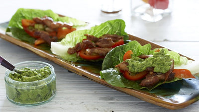 Chicken and Avocado Lettuce or Cabbage Leaf Wraps