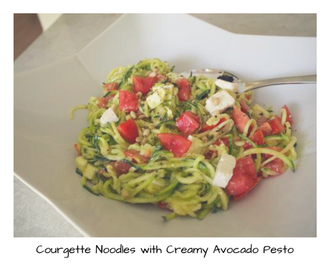 Courgette Noodles with Creamy Avocado Pesto