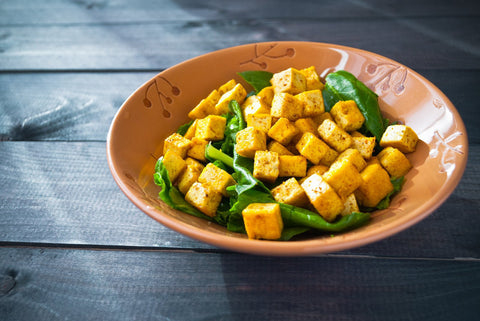 Curried Tofu Scamble with Spinach