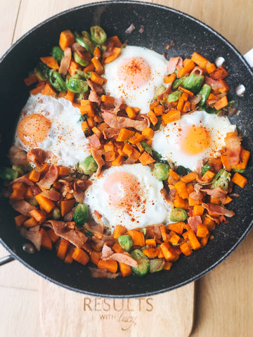 Brussels Sprout, Potato & Bacon Hash