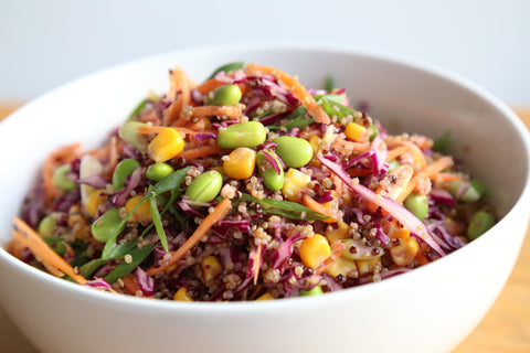 Quinoa and Edamame Salad with Ginger Dressing