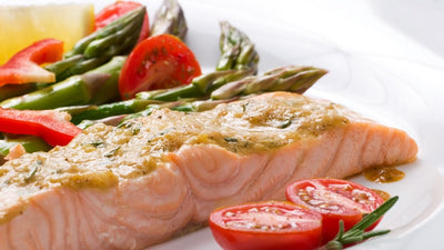 Salmon with Olive and Garlic Sauce