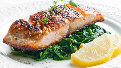 Salmon with Spinach and Leeks
