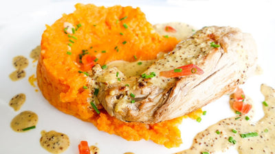 Steamed Chili Chicken with Coconut Carrot Mash