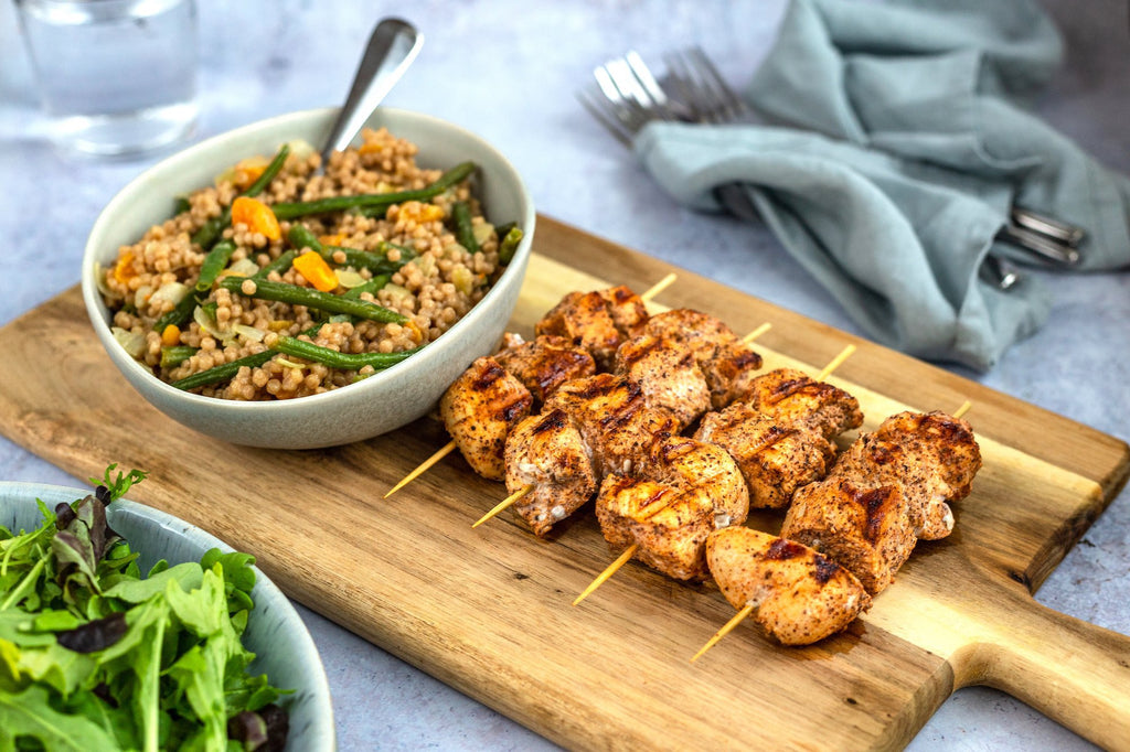 Harissa Chicken Skewers With A Giant Cous Cous And Apricot Salad