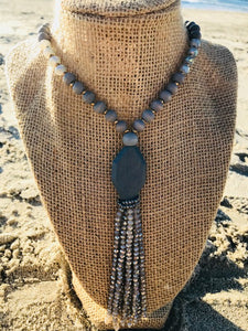 Amazonite and Wood Tassel Necklace