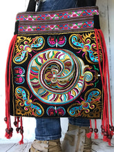 Black and Red Boho Embroidered Handbag