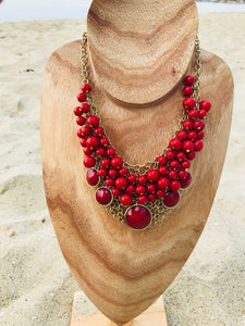 Cranberry & Gold Beaded Net Necklace