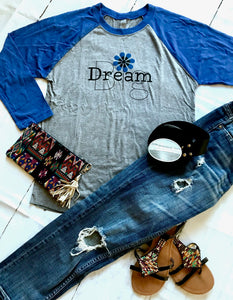 Dream Big Vintage Royal 3/4 Tee