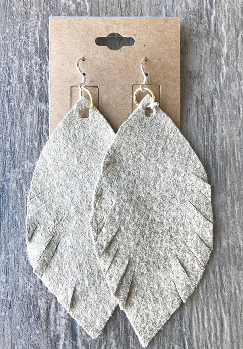 Feather Fray Suede Earrings
