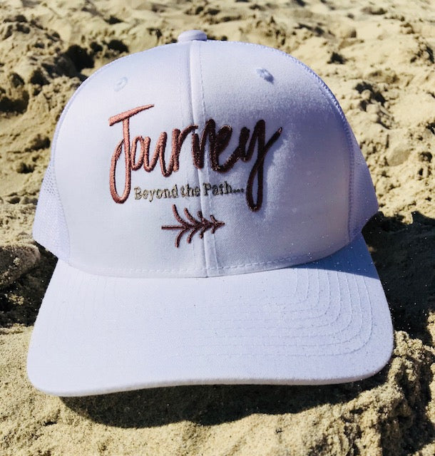 Journey Beyond the Path White Trucker Hat