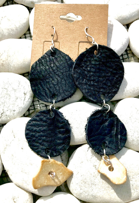 Licorice & Sand Leather Earrings