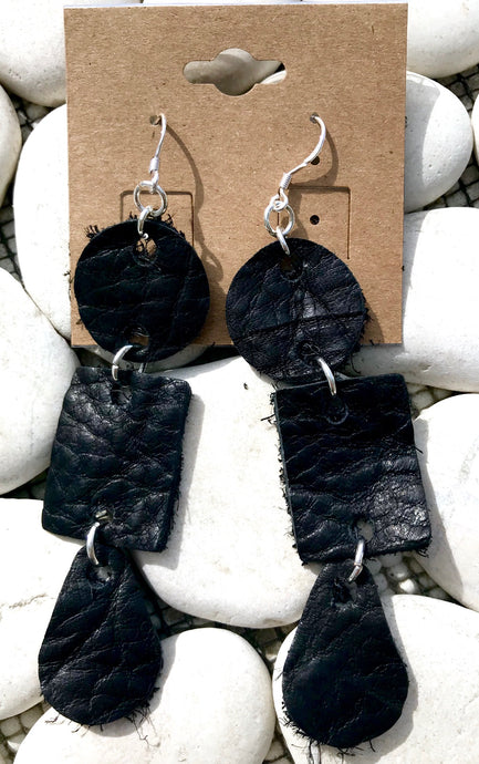 Multi-Shaped Hinge Leather Earrings
