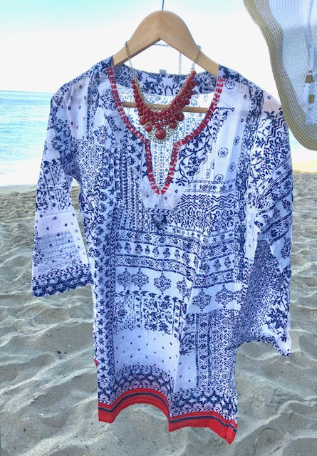 Navy and Red BOHO Blouse/Tunic