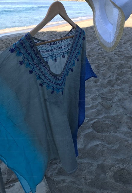Turquoise Blend Embroidered Dress
