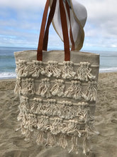 Woven Macrame & Leather Handbag