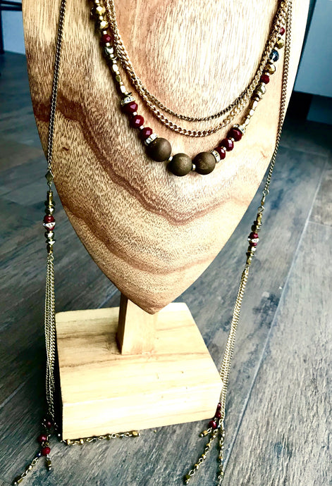Crimson and Gold Double Wrap Necklace