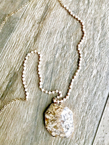 Pink Jasper and Crystal Stone Necklace