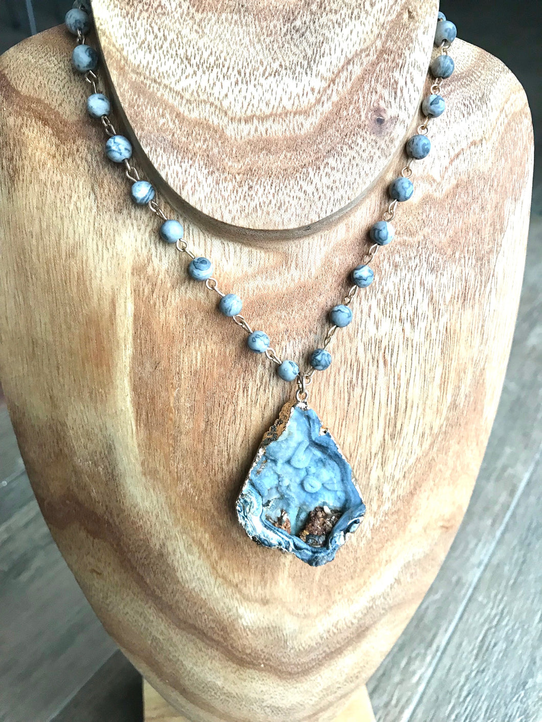 Smokey Blue Agate Beaded Drop Necklace