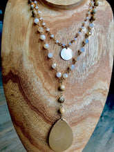 Stone & Shimmer Drop Double Strand Necklace