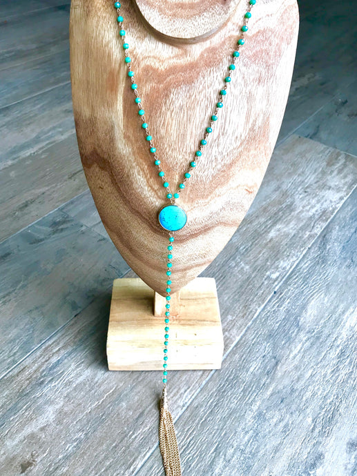 Turquoise, Green Crystal & Gold Drop Tassel Necklace