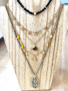 Agate Crystal Multi-Strand Necklace