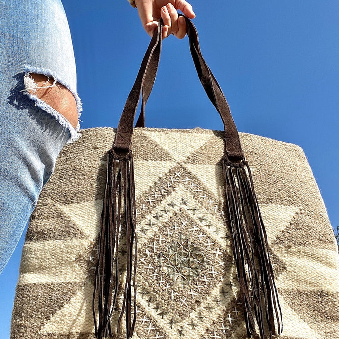 Aztec Wool & Leather Embroidered Handbag
