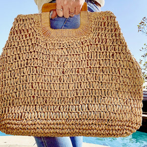 Beach Bound Wooden Handle Boho Handbag