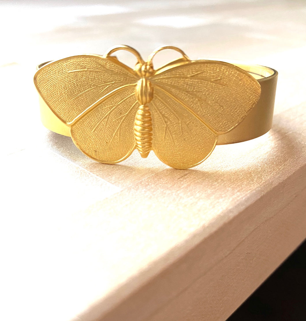 Butterfly 18K Gold Plated Cuff Bracelet