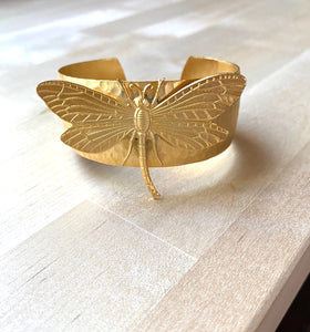 Dragonfly 18K Gold Plated Cuff Bracelet