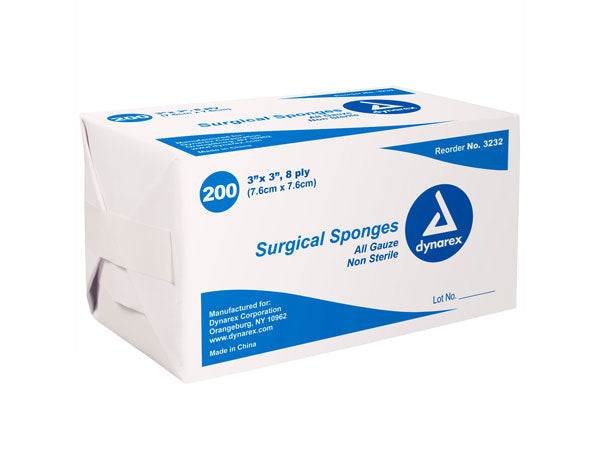 "3"" x 3"" - 8 Ply Surgical Gauze Sponges - Pack of 200"