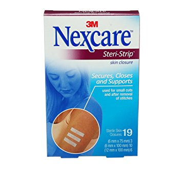 Nexcare Steri-Strip Skin Closures - Assorted Sizes - Box of 19