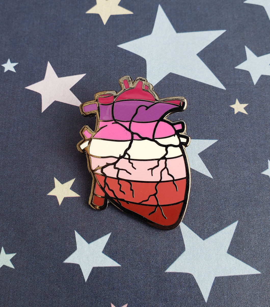 SALE Anatomical Heart Lesbian Pride (7-stripe) Enamel Pin