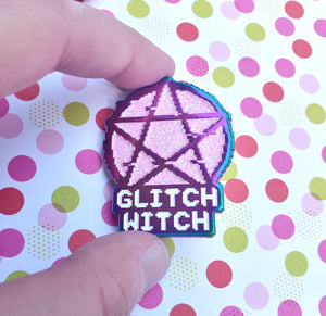Glitch Witch Pin - Rainbow Metal & Glitter Enamel Pin