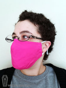 Hot Pink Face Mask - Cotton Face Mask With Filter Pocket and 2 Inserts