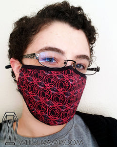 Utena Rose Crest Face Mask - Cotton Face Mask With Filter Pocket and 2 Inserts