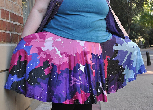 Pixel Nebula Skater Skirt with Pockets