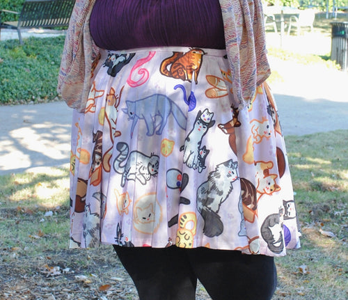 Kitty Cat Pattern Skater Skirt with Pockets