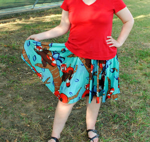Red Panda Skater Skirt With Pockets