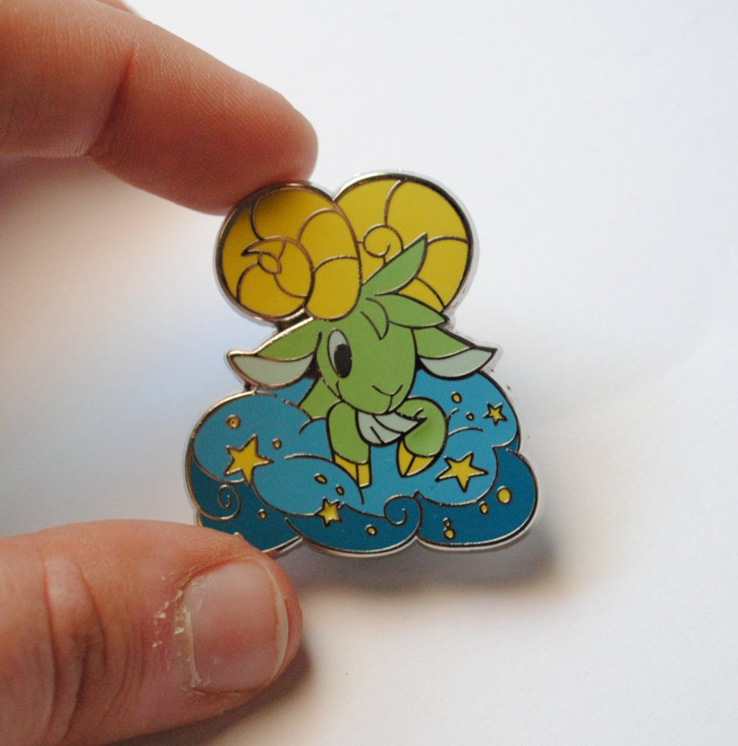 Ram in the Clouds Enamel Pin