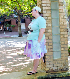 Pastel Pixel Nebula Skater Skirt with Pockets