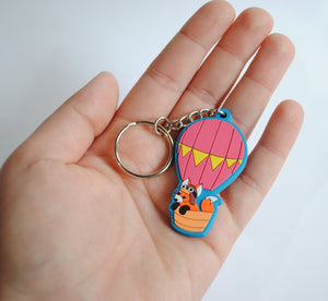 SALE - Hot Air Balloon Fox PVC Keychain