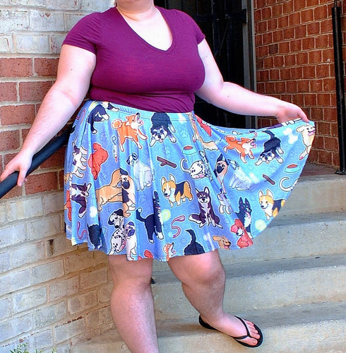 Puppy Dog Skater Skirt with Pockets