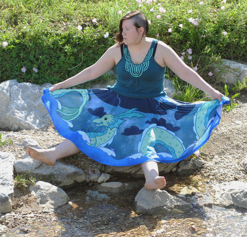 PRE-ORDER Sea Serpent Midi Skirt with Pockets