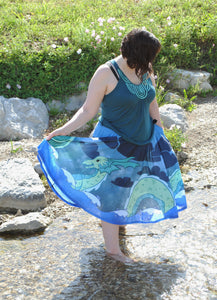 Sea Serpent Midi Skirt with Pockets