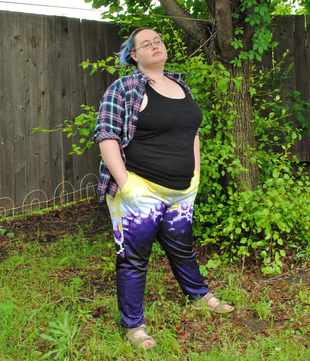 Pixel Pride Sunburst Jogger Pants with Pockets - Non-binary Pride