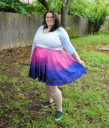 Pixel Pride Twilight Skater Skirt with Pockets - Bi / Bisexual Pride